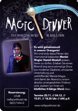 Dinnershow Trier mit Magier Hamid Mostofi